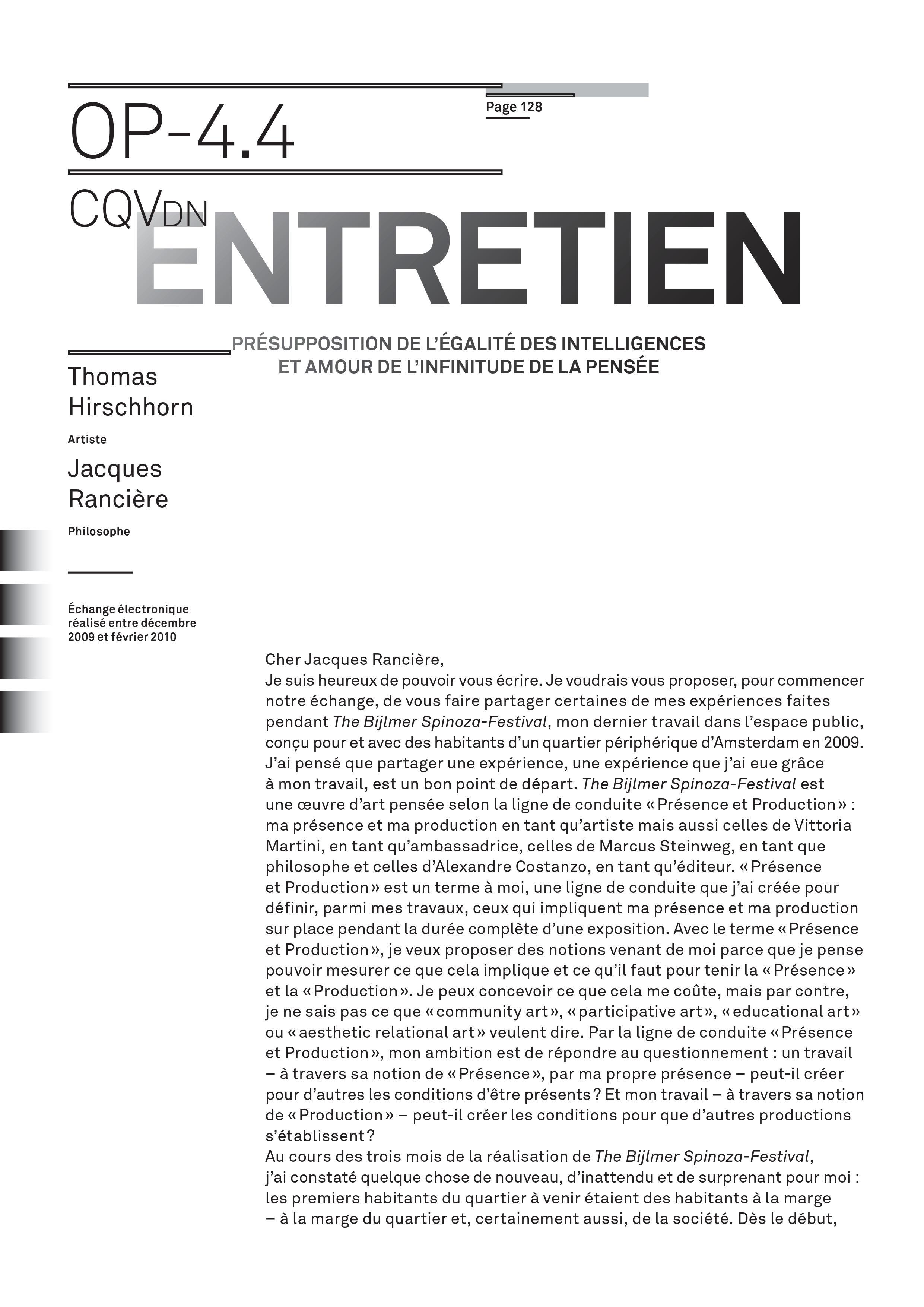 Entretien Jacques Rancière (1)